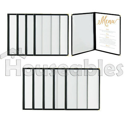 "10pcs Menu Cover 8.5"" x 11"" Double Page Fold 4 View Black Trim Restaurant Cafe"