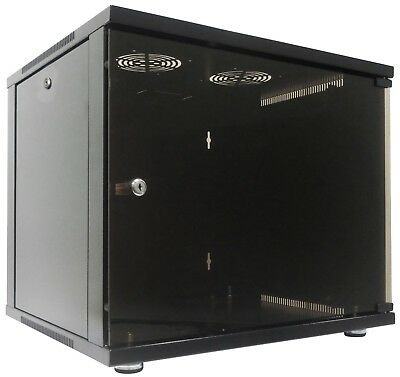 "9u 19"" 450mm Deep Black Wall Mounted & Floor Standing Data Cabinet Patch Panel"
