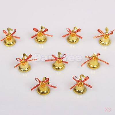 3x 9pcs/Pack Gold Christmas Bell Pendant Hanging Ornaments for Christmas Tree