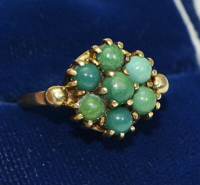 1966 Vintage 9ct Yellow Gold & BLUE GREEN TURQUOISE Flower Cluster RING - K