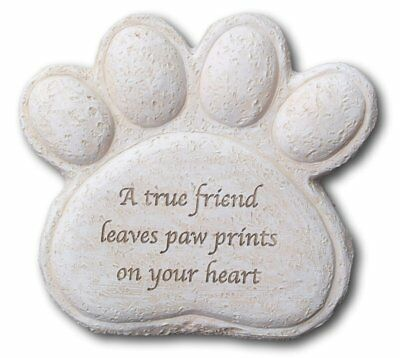 Dog resin memorial plaque...true friend leaves paw prints on your heart