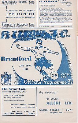 BURY v BRENTFORD ~ 27 SEPTEMBER 1952 WITH A MATCH REPORT FROM THE GAME