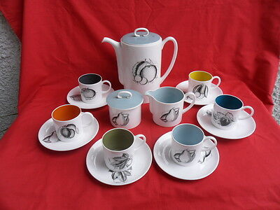 Susie Cooper, Black Fruit, 15 Piece Coffee Set REDUCED!