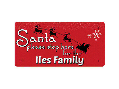 WP_XMAS_050 Santa please stop here for the Iles Family - Metal Wall Plate