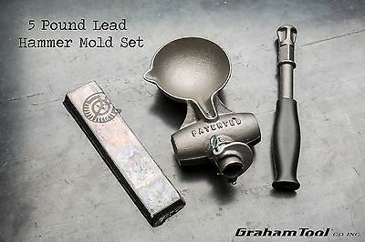 Lead Hammer Mold Set, 5 Pound, Perfect For General Non-Marring Hammer Work, USA