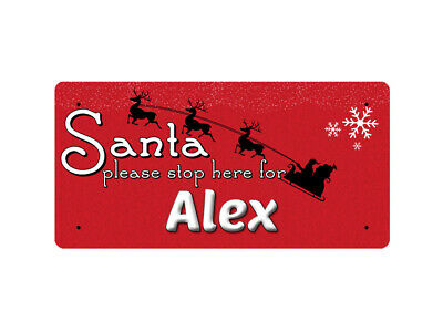 WP_XMAS_1082 Santa please stop here for Alex - Metal Wall Plate