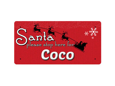WP_XMAS_1634 Santa please stop here for Coco - Metal Wall Plate