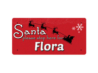 WP_XMAS_1775 Santa please stop here for Flora - Metal Wall Plate