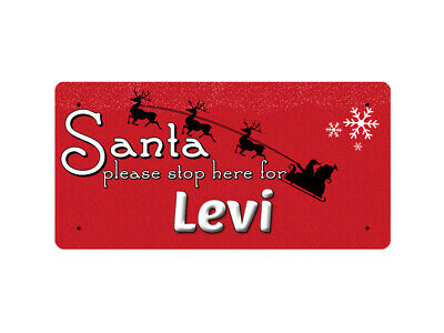 WP_XMAS_2199 Santa please stop here for Levi - Metal Wall Plate