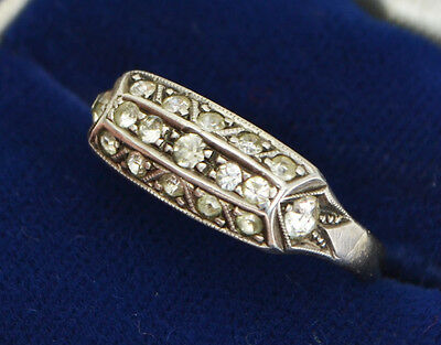 Vintage 9ct YELLOW GOLD & SILVER Art Deco Sparkly PASTE Unusual Dress RING L.5