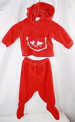 Vintage Red Velour Hooded Outfit Girls Size 3-6 Mos.
