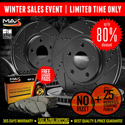 [Front+Rear] BLACK Slotted Drilled Rotors & Ceramic Pads 2003-2007 Jeep Liberty