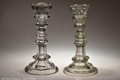 c. 3Q 1800s No. 1 THISTLE by McKee / Bakewell, Pears FLINT CRYSTAL Candlesticks