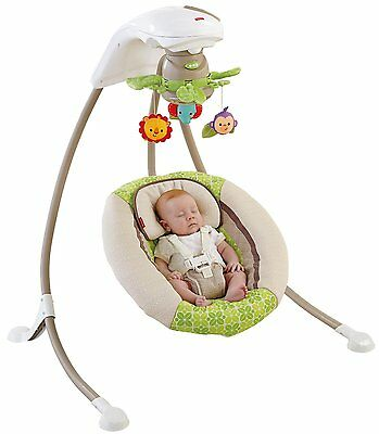 Fisher Price Rainforest Friends Deluxe Baby Cradle & Swing w/ Music | X7340