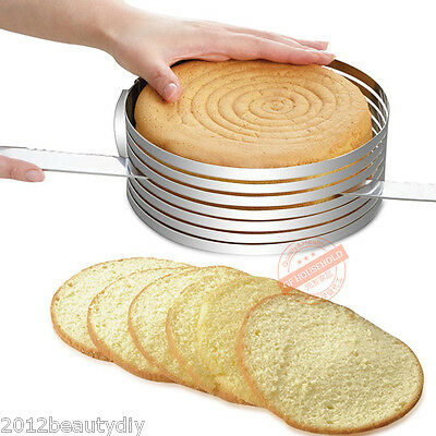 Stainless Adjustable Layer Cutting Slicing Mousse Cake Ring Mould Bakeware
