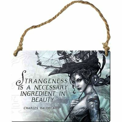 Alchemy Gothic Strangeness Is Necessary Steel Metal Hanging Wall Plaque Sign 9cm