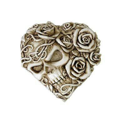 Alchemy Gothic Ghost Of Narcissus Skeleton Skull & Rose Cream Compact Mirror