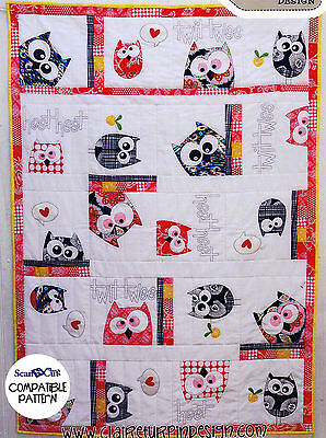 Family of Owls Quilt  - applique & pieced bed quilt PATTERN - Claire Turpin