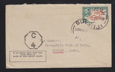 Fiji 1945 Censored Cover Suva To Bombay India