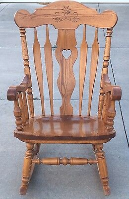 Vintage S Bent & Bros Colonial Adult Rocking Chair Gardner Mass 633P Solid Oak