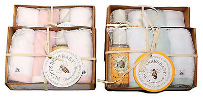 Burt's Bees Baby Organic Bath Sets 6 Washcloths & 2 Body Wash Blue or Pink
