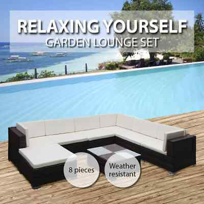 Black/White/Brown Wicker Rattan Garden Sofa Seat Seting Lounge Couch Outdoor