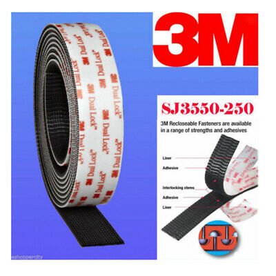 "3M 1"" W x39.4""Dual Lock SJ3550 Type 250 VHB Black Reclosable Fastener In/Outdoor"