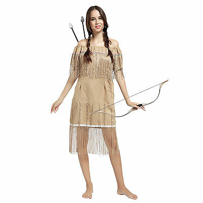 Cosplay Costume Donna Halloween Carnevale Indiano POCAHONTAS con Frange Cammello