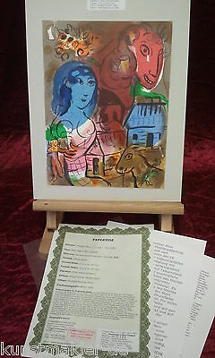 Original MARC CHAGALL Lithographie 572 : Hommage (Mit Expertise)