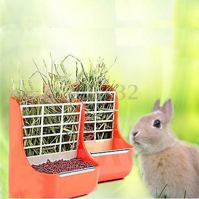 2 in 1 Rabbit Bowl Grass Shelf Orange Plastic Pet Rabbit Grass Hay Feeder Bowl