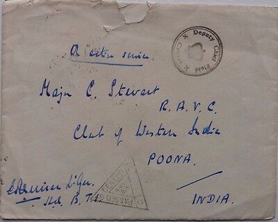 Iraq 1941 Censored Active Service Cover To Royal Army Veterinary Corps India