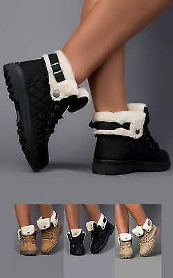 Women's Ladies Glam Stunning Faux Fur Lace Up Casual Ankle Boots