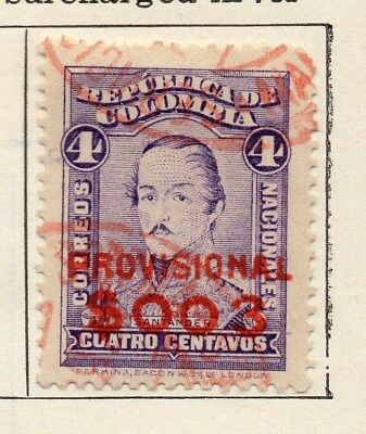 Colombia 1922 Early Issue Fine Used 4c. Optd Surcharged 097626