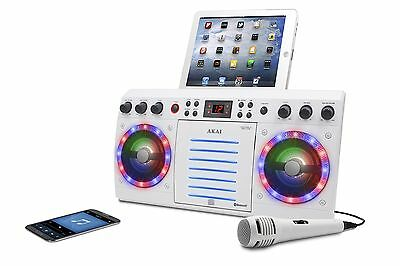 Akai Ks303wbt White Cd&g Karaoke System With Bluetooth Front