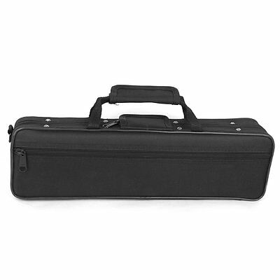 Nylon Padded Flute Bag Carry Case Cover Shoulder Strap 39x7x11cm Black FK