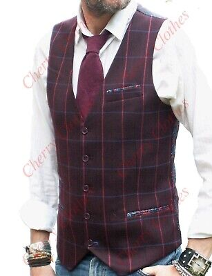 MENS BURGUNDY WINE WAISTCOAT VEST with BLUE & RED CHECK  -  SLIM FIT - ALL SIZES