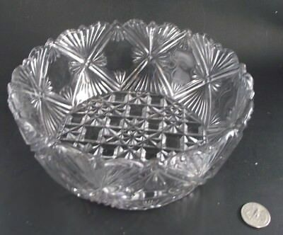 """Eapg  8.5""""  Cross Clear Glass Antique Bowl"""