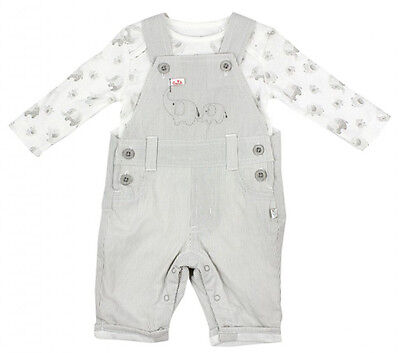Boys Baby Cute Elephant Dungarees & Long Sleeve Bodysuit Set Newborn to 9 Months