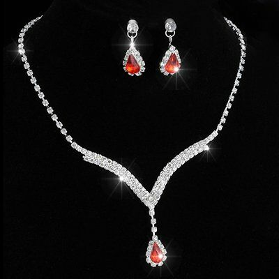 Sapphire Ruby Necklace Earrings Crystal Tennis Silver Brides Women Jewelry Set