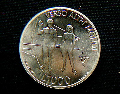 Italy 1978 SAN Marino silver coin 1000 Lire UNC Tolstoy in official box