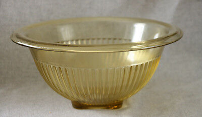 Federal Depression Glass Mixing Bowl Yellow Amber Ribbed Vtg Lg 11n Golden Glow
