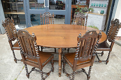 Set 6 x Antique Oak Barley Twist Dining Chairs 1890's Drop leaf Oval table