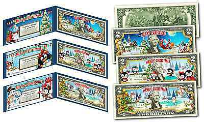 MERRY CHRISTMAS 2017 Colorized XMAS U.S. Legal Tender $2 Bills *(SET OF ALL 3)*