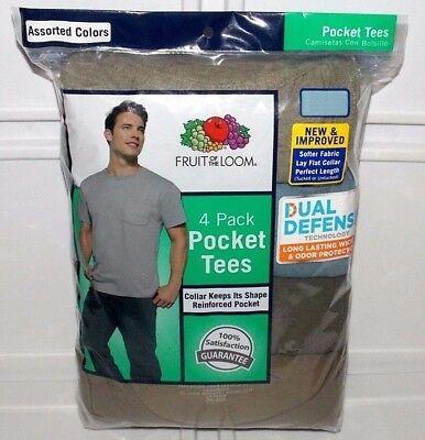 Fruit of the Loom Men's 4-Pack Crewneck Pocket T-Shirts Big & Tall Sizes 2XL 3XL