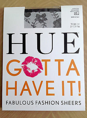 NEW Women's HUE Sheer Black Pansy Pantyhose W/Control Top SIZE 2