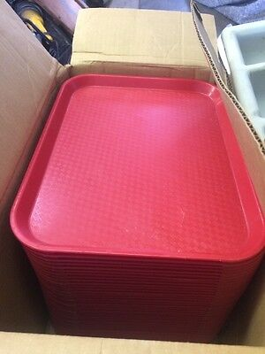 "(37) Cambro CAMTRAY SERVING CAFETERIA BUFFET TRAYS  10 1/2"" X 13 5/8"" RED"