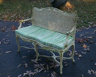Antique French or Italian Style Cane Seat Love Seat Settee