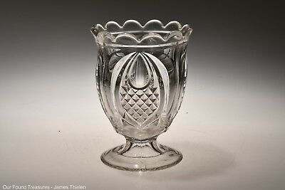 c. 1860s NEW ENGLAND PINEAPPLE  by New England Glass FLINT CRYSTAL Footed Spill