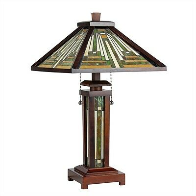 Chloe Lighting CH33359WM15-DT3 Mission Stained Glass 3-Light Table Lamp
