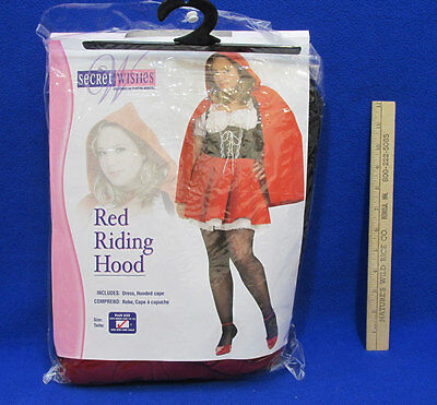 Secret Wishes Red Riding Hood Costume Dress & Hooded Cape Plus Size 14 16